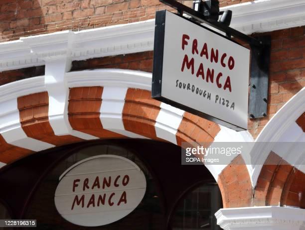 Franco Manca a sourdough Neapolitan pizza business restaurant seen in Central London