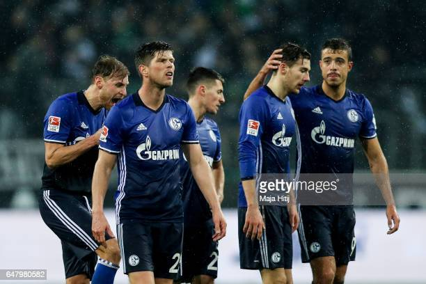 Franco Matias Di Santo Leon Goretzka and KlaasJan Huntelaar of Schalke react after the Bundesliga match between Borussia Moenchengladbach and FC...