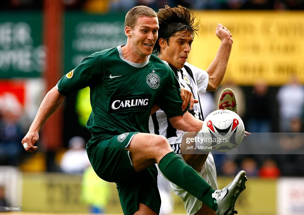 Franco Miranda of St Mirren tackles Chris Killen of Celtic during the Scottish Premier League match between Celtic and St Mirren at Love Street on September 2, 2007 in Paisley, Scotland.