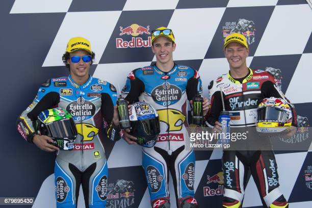 Franco Morbidelli of Italy and EG 00 Marc VDS Alex Marquez of Spain and EG 00 Marc VDS and Dominique Aegerter of Switzerland and Kiefer Racing pose...