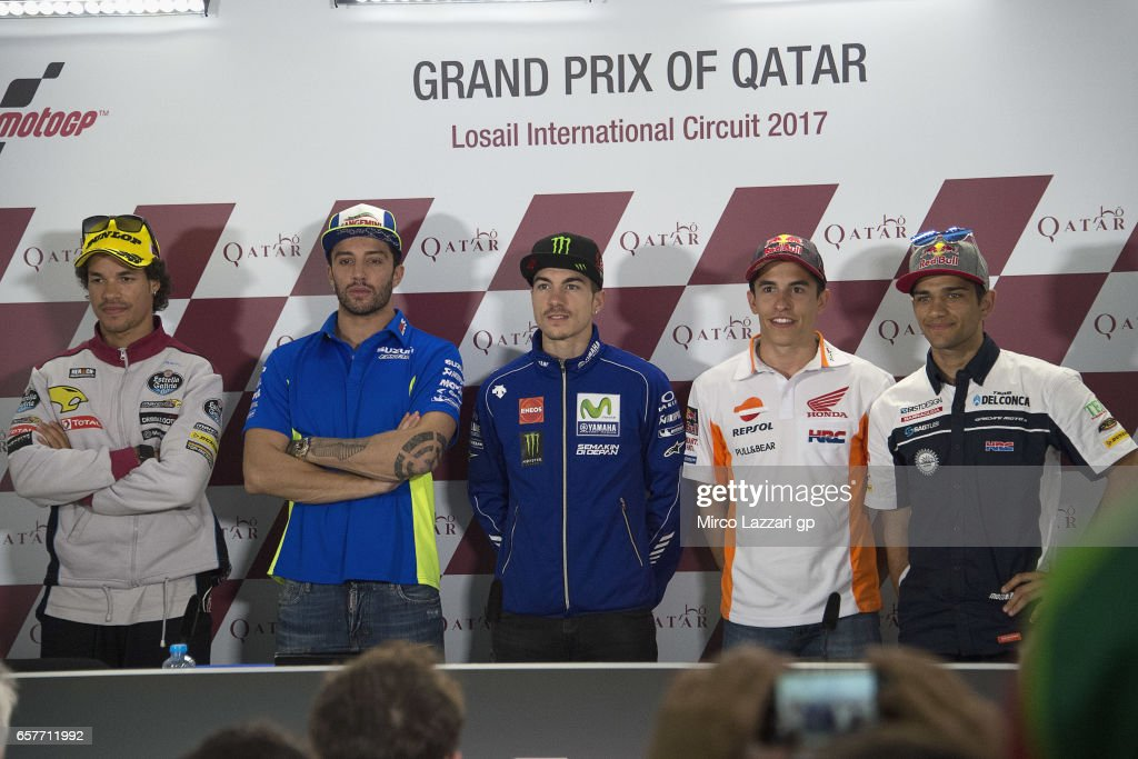 Franco Morbidelli of Italy and EG 00 Marc VDS, Andrea Iannone of Italy and Team Suzuki ECSTAR, Maverick Vinales of Spain and Movistar Yamaha MotoGP, Marc Marquez of Spain and Repsol Honda Team and Jorge Martin of Spain and Del Conca Gresini Moto3 pose during the press conference during the MotoGp of Qatar - Qualifying at Losail Circuit on March 25, 2017 in Doha, Qatar.