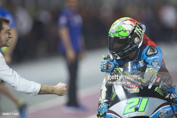 Franco Morbidelli of Italy and EG 00 Marc VDS celebrates the victory at the end of the Moto2 race during the MotoGp of Qatar Race at Losail Circuit...