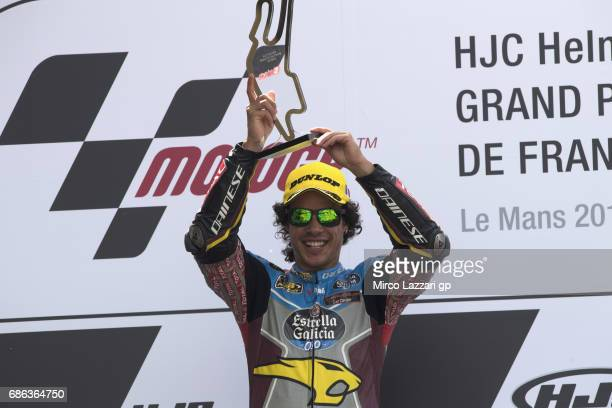 Franco Morbidelli of Italy and EG 00 Marc VDS celebrates the victory on the podium at the end of the the Moto2 race during the MotoGp of France Race...