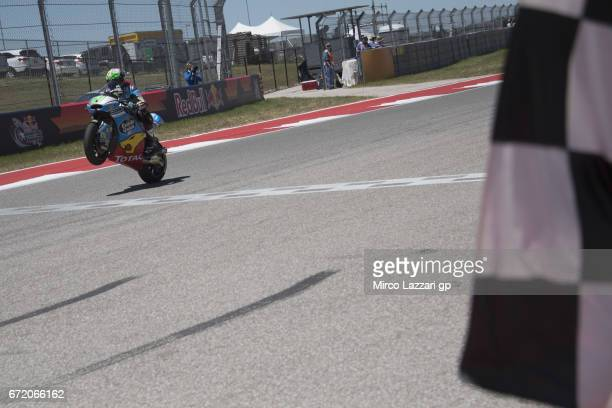 Franco Morbidelli of Italy and EG 00 Marc VDS cuts the finish lane and celebrates the victory at the end of the Moto2 race during the MotoGp Red Bull...