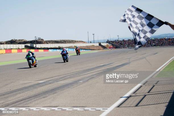 Franco Morbidelli of Italy and EG 00 Marc VDS cuts the finish lane and celebrates the victory at the end of the Moto2 race during the MotoGP of...