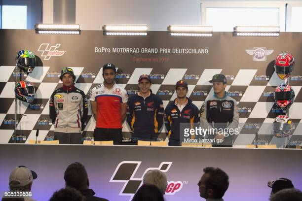 Franco Morbidelli of Italy and EG 00 Marc VDS Danilo Petrucci of Italy and Octo Pramac Yakhnich Marc Marquez of Spain and Repsol Honda Team Dani...