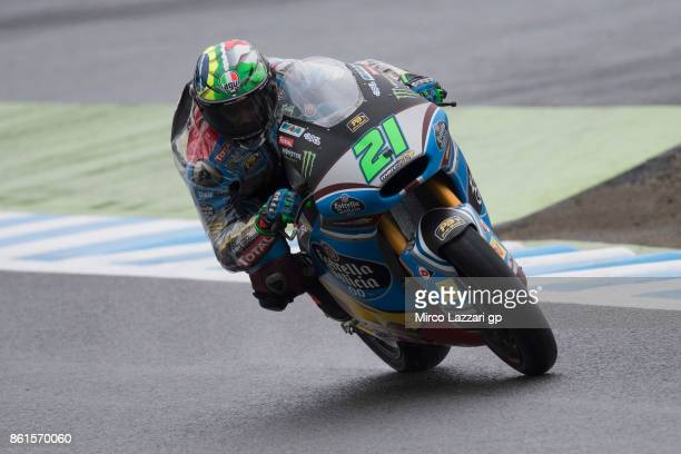 Franco Morbidelli of Italy and EG 00 Marc VDS heads down a straight during the Moto2 race during the MotoGP of Japan Race at Twin Ring Motegi on...