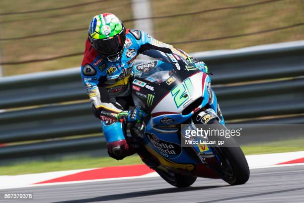 Franco Morbidelli of Italy and EG 00 Marc VDS heads down a straight during the qualifying practice during the MotoGP Of Malaysia Qualifying at Sepang...