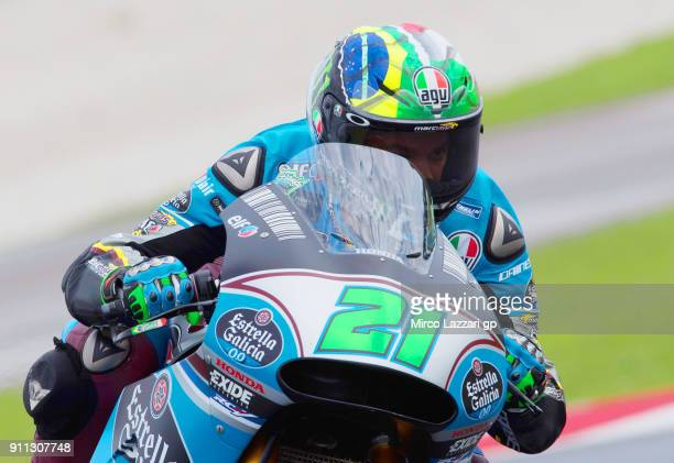 Franco Morbidelli of Italy and EG 00 Marc VDS heads down a straight during the MotoGP Tests In Sepang at Sepang Circuit on January 28 2018 in Kuala...