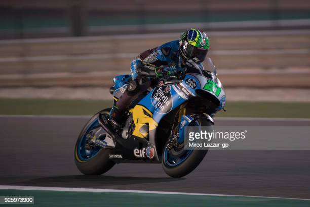 Franco Morbidelli of Italy and EG 00 Marc VDS heads down a straight during the MotoGP Testing Qatar at Losail Circuit on March 1 2018 in Doha Qatar