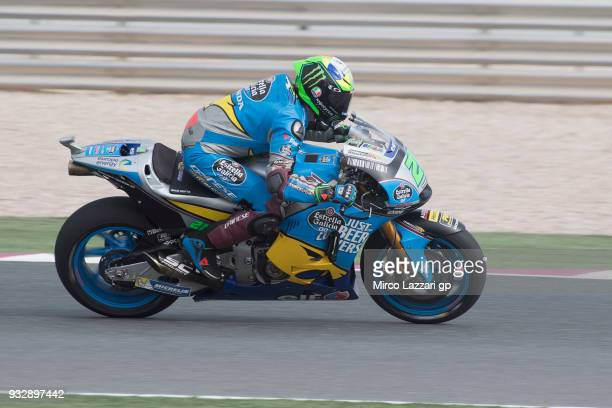 Franco Morbidelli of Italy and EG 00 Marc VDS heads down a straight during the MotoGP of Qatar Free Practice at Losail Circuit on March 16 2018 in...