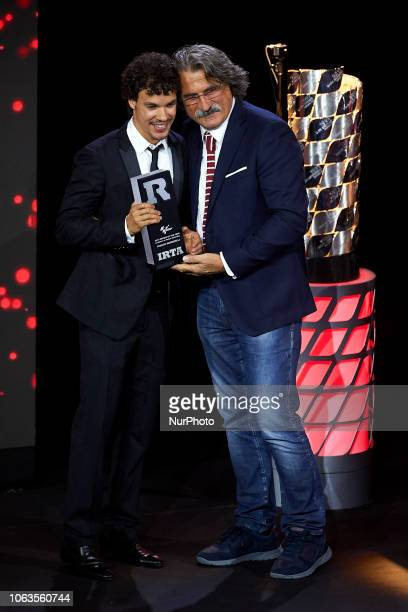 Franco Morbidelli of Italy and Eg 00 Marc VDS Honda Rookie of the year in MotoGP whit Paolo Simoncelli during the FIM Awards Ceremony after the Gran...