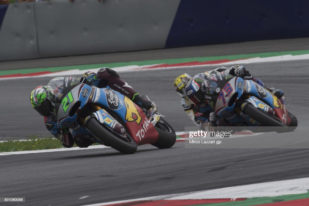 Franco Morbidelli of Italy and EG 00 Marc VDS leads Alex Marquez of Spain and EG 00 Marc VDS during the Moto2 race during the MotoGp of Austria - Race at Red Bull Ring on August 13, 2017 in Spielberg, Austria.