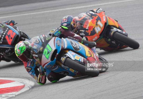 Franco Morbidelli of Italy and EG 00 Marc VDS leads the field during the Moto2 race during the MotoGP Of Malaysia Race at Sepang Circuit on October...