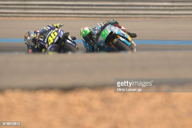 Franco Morbidelli of Italy and EG 00 Marc VDS leads Valentino Rossi of Italy and Movistar Yamaha MotoGP during the MotoGP Tests In Thailand on...