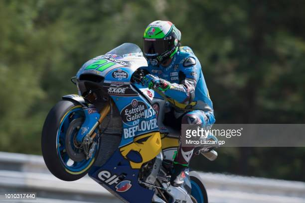 Franco Morbidelli of Italy and EG 00 Marc VDS lifts the front wheel during the MotoGp of Czech Republic Free Practice at Brno Circuit on August 3...
