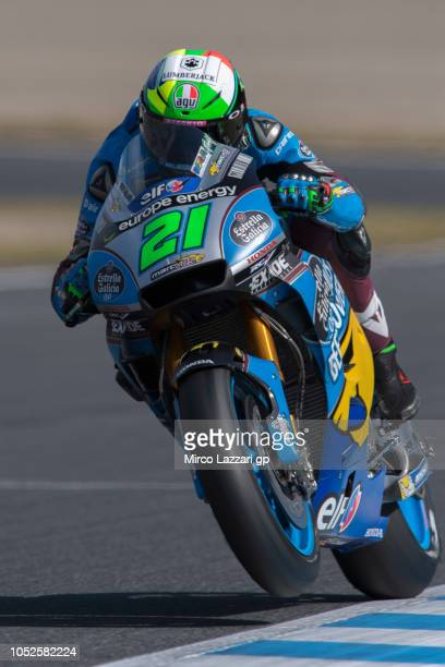 Franco Morbidelli of Italy and EG 00 Marc VDS lifts the front wheel during the MotoGP of Japan Qualifying at Twin Ring Motegi on October 20 2018 in...