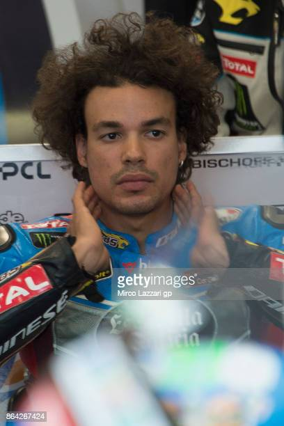 Franco Morbidelli of Italy and EG 00 Marc VDS looks on in box before the Moto2 qualifying practice during qualifying for the 2017 MotoGP of Australia...