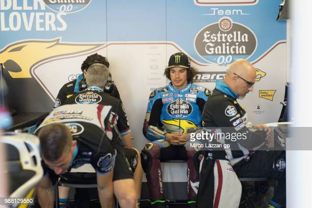 Franco Morbidelli of Italy and EG 00 Marc VDS looks on in box during the Qualifying practice during the MotoGP Netherlands Qualifying on June 30 2018...