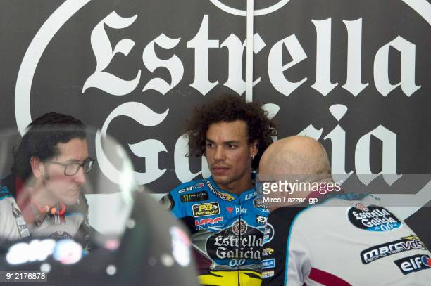 Franco Morbidelli of Italy and EG 00 Marc VDS looks on in the pit during the MotoGP test in Sepang at Sepang Circuit on January 30 2018 in Kuala...