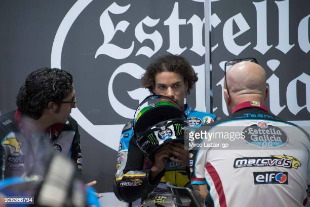 Franco Morbidelli of Italy and EG 00 Marc VDS looks on in the pit during the Moto GP Testing Qatar at Losail Circuit on March 2 2018 in Doha Qatar