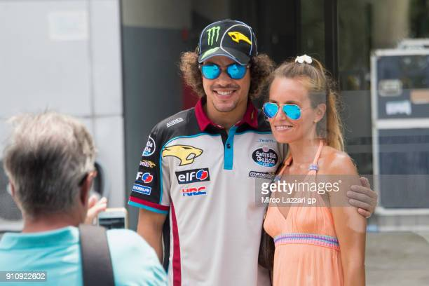 Franco Morbidelli of Italy and EG 00 Marc VDS poses for fans in paddock at Sepang Circuit on January 27 2018 in Kuala Lumpur Malaysia