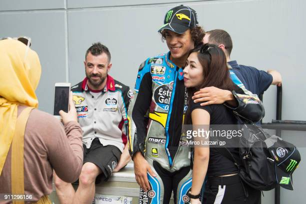 Franco Morbidelli of Italy and EG 00 Marc VDS poses with fans in paddock during the MotoGP testing at Sepang Circuit on January 28 2018 in Kuala...