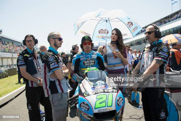 Franco Morbidelli of Italy and EG 00 Marc VDS prepares to start on the grid during the MotoGp race during the MotoGp of Spain Race at Circuito de...