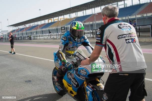 Franco Morbidelli of Italy and EG 00 Marc VDS returns in box and greets during the MotoGP Testing Qatar at Losail Circuit on March 1 2018 in Doha...