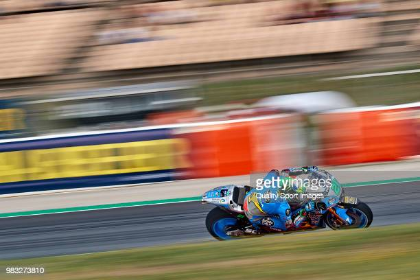 Franco Morbidelli of Italy and EG 00 Marc VDS rides during free practice for the MotoGP of Catalunya at Circuit de Catalunya on at Circuit de...