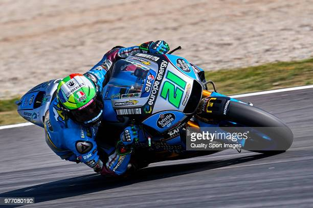 Franco Morbidelli of Italy and EG 00 Marc VDS rides during MotoGP free practice at Circuit de Catalunya on June 17 2018 in Montmelo Spain