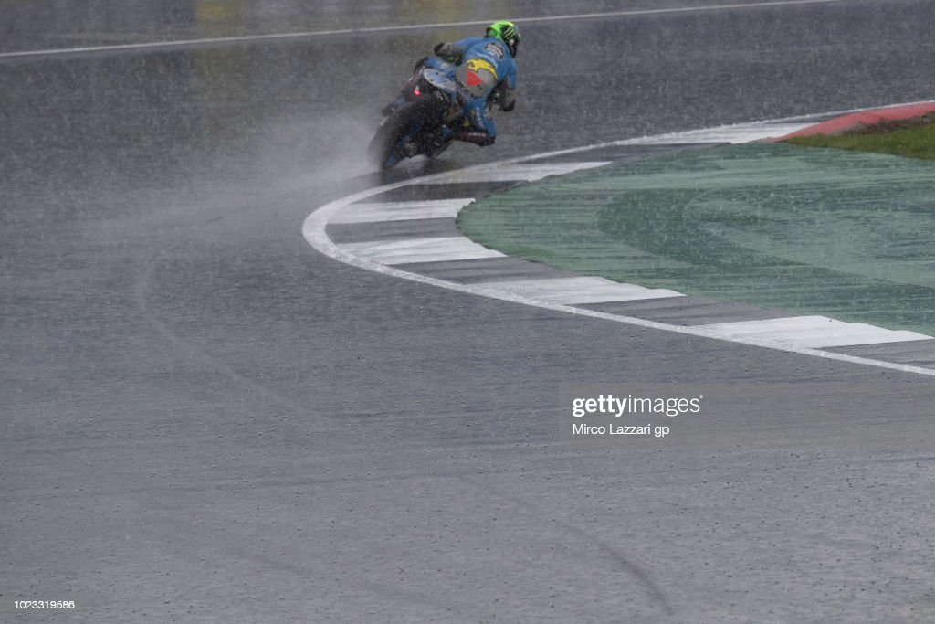Franco Morbidelli of Italy and EG 00 Marc VDS rounds the bend during the qualfying practice during the MotoGp Of Great Britain - Qualifying at Silverstone Circuit on August 25, 2018 in Northampton, England.