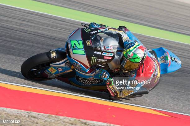 Franco Morbidelli of Italy and EG 00 Marc VDS rounds the bend during the qualifying practice during the MotoGP of Aragon Qualifying at Motorland...