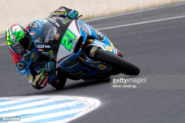 Franco Morbidelli of Italy and EG 00 Marc VDS rounds the bend during the Moto2 qualifying practice during qualifying for the 2017 MotoGP of Australia...