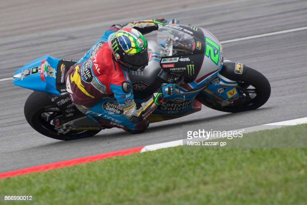 Franco Morbidelli of Italy and EG 00 Marc VDS rounds the bend during the MotoGP Of Malaysia Free Practice at Sepang Circuit on October 27 2017 in...