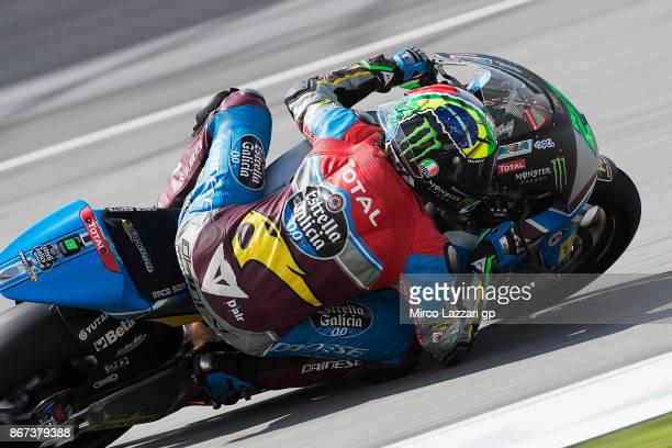 Franco Morbidelli of Italy and EG 00 Marc VDS rounds the bend during the qualifying practice during the MotoGP Of Malaysia Qualifying at Sepang...