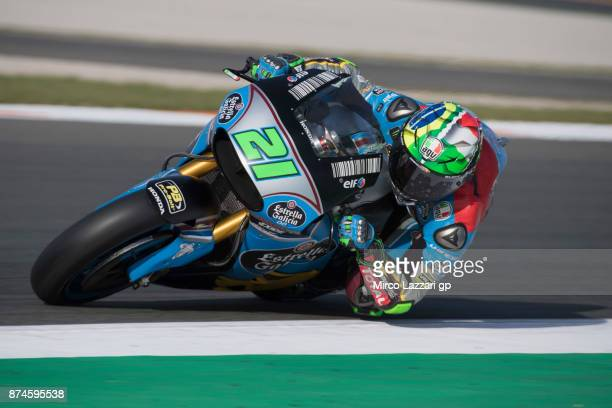 Franco Morbidelli of Italy and EG 00 Marc VDS rounds the bend during the MotoGP Tests In Valencia day 2 at Comunitat Valenciana Ricardo Tormo Circuit...