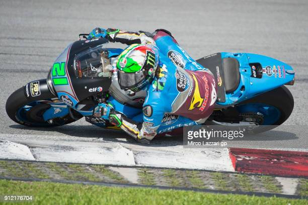 Franco Morbidelli of Italy and EG 00 Marc VDS rounds the bend during the MotoGP test in Sepang at Sepang Circuit on January 30 2018 in Kuala Lumpur...
