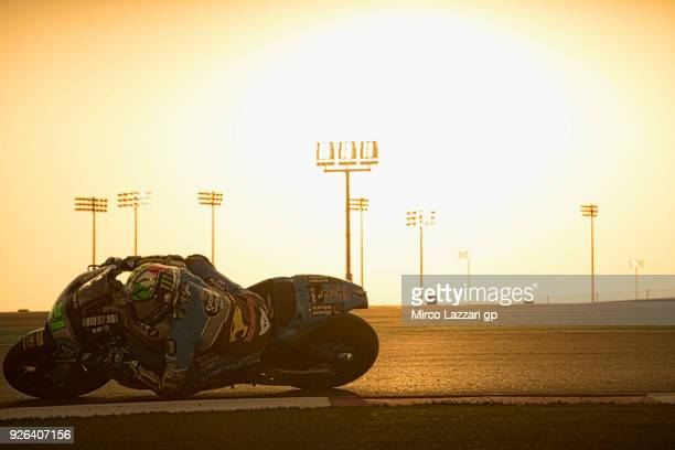 Franco Morbidelli of Italy and EG 00 Marc VDS rounds the bend during the Moto GP Testing Qatar at Losail Circuit on March 2 2018 in Doha Qatar