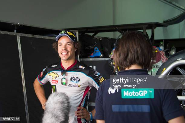 Franco Morbidelli of Italy and EG 00 Marc VDS speaks with journalists in paddock ahead of the MotoGP of Malaysia at Sepang Circuit on October 26 2017...