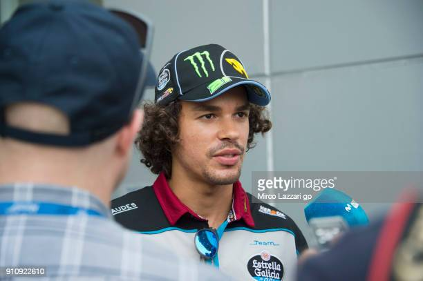 Franco Morbidelli of Italy and EG 00 Marc VDS speaks with journalists in paddock at Sepang Circuit on January 27 2018 in Kuala Lumpur Malaysia