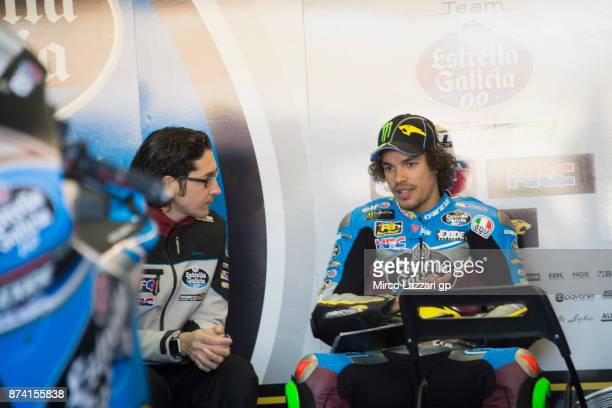 Franco Morbidelli of Italy and EG 00 Marc VDS speaks with mechanics in box during the MotoGP Tests In Valencia day 1 at Comunitat Valenciana Ricardo...
