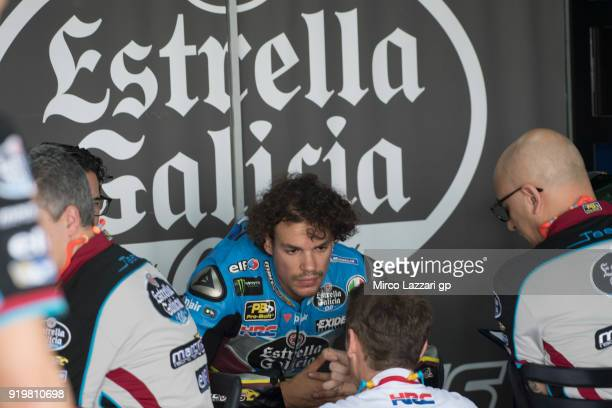 Franco Morbidelli of Italy and EG 00 Marc VDS speaks with mechanics during the MotoGP Tests In Thailand on February 18 2018 in Buri Ram Thailand