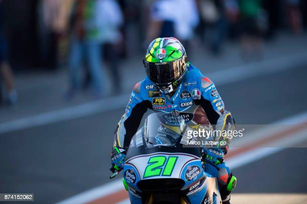 Franco Morbidelli of Italy and EG 00 Marc VDS starts from box during the MotoGP Tests In Valencia day 1 at Comunitat Valenciana Ricardo Tormo Circuit...
