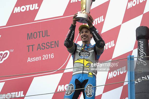 Franco Morbidelli of Italy and Estrella Galicia 00 Marc VDS Racing Team celebrates on the podium the third place at the end of the Moto2 race during...