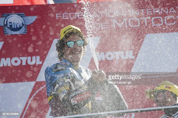 Franco Morbidelli of Italy and Estrella Galicia 00 Marc VDS Racing Team celebrates the third place on the podium at the end of the Moto2 race during...