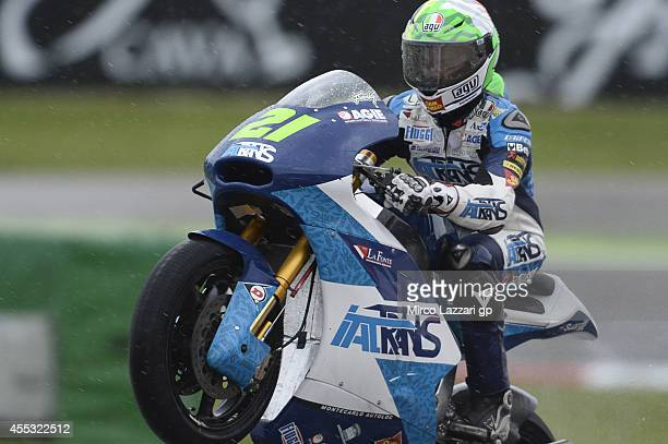 Franco Morbidelli of Italy and Italtrans Racing Team lifts the front wheel during the MotoGP of San Marino Free Practice at Misano World Circuit on...