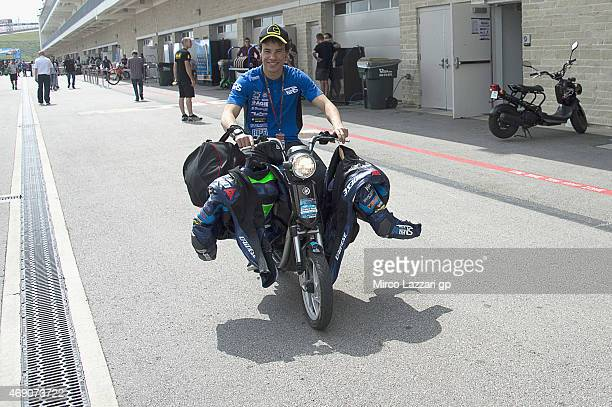 Franco Morbidelli of Italy and Italtrans Racing Team riders a scooter with the leathers in paddock during the MotoGp Red Bull US Grand Prix of The...