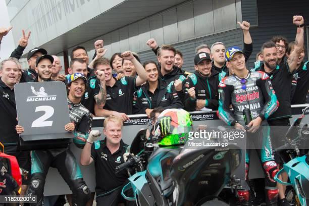 Franco Morbidelli of Italy and Petronas Yamaha SRT and Fabio Quartararo of France and Petronas Yamaha SRT celebrate with team during the MotoGP of...