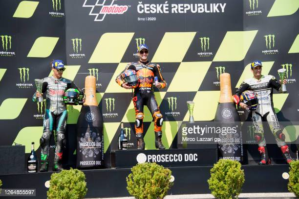 Franco Morbidelli of Italy and Petronas Yamaha SRT, Brad Binder of South Africa and Red Bull KTM Factory Racing and Johann Zarco of France and Reale...